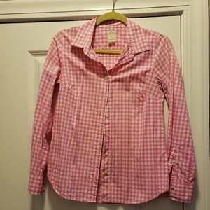J Crew Pink Gingham Long Sleeve Camp Shirt